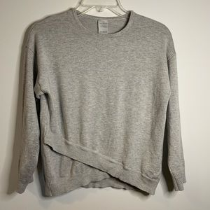 Girls grey Sweater with cross cross hem